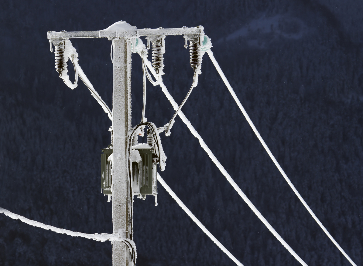 Electric cable frozen in winter
