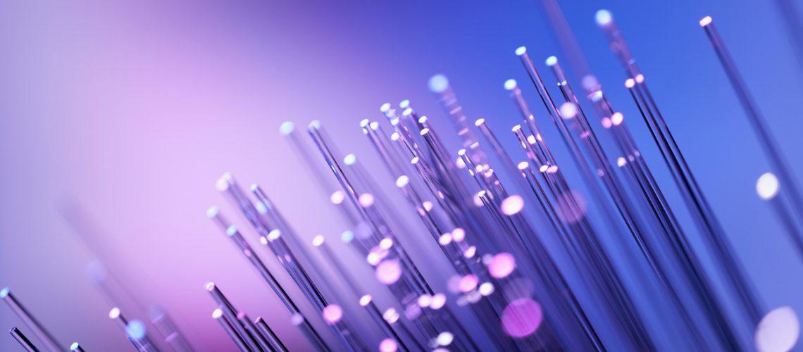 Fiber optics abstract background - Purple Blue Data Internet Technology Cable